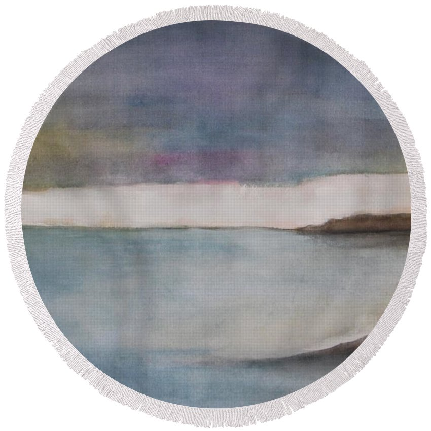 Ocean Round Beach Towel featuring the painting Lagoon Bleu by Vesna Antic