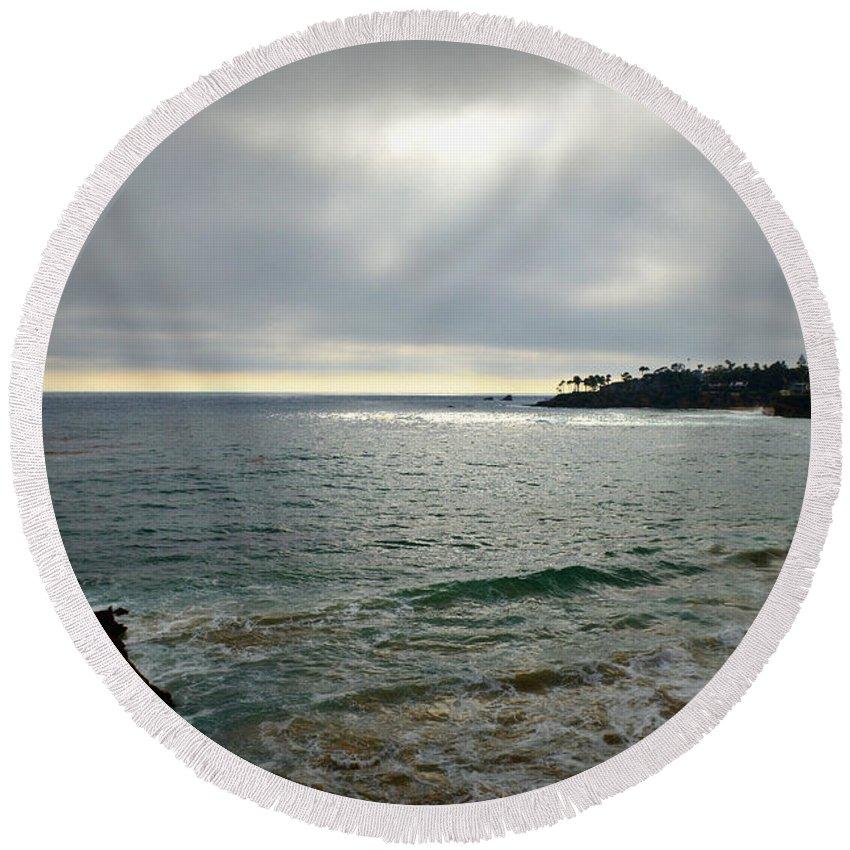 Laguna Beach Round Beach Towel featuring the photograph Laguna Beach Sunset by Glenn McCarthy Art and Photography