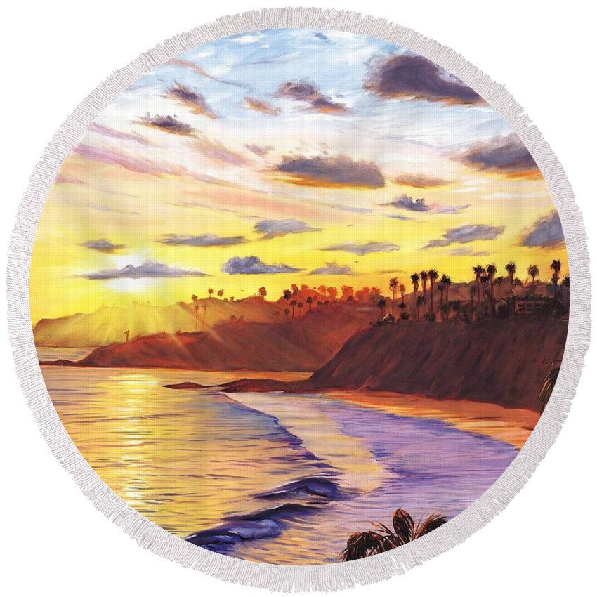 Laguna Beach Round Beach Towel featuring the painting Laguna Village Sunset by Steve Simon
