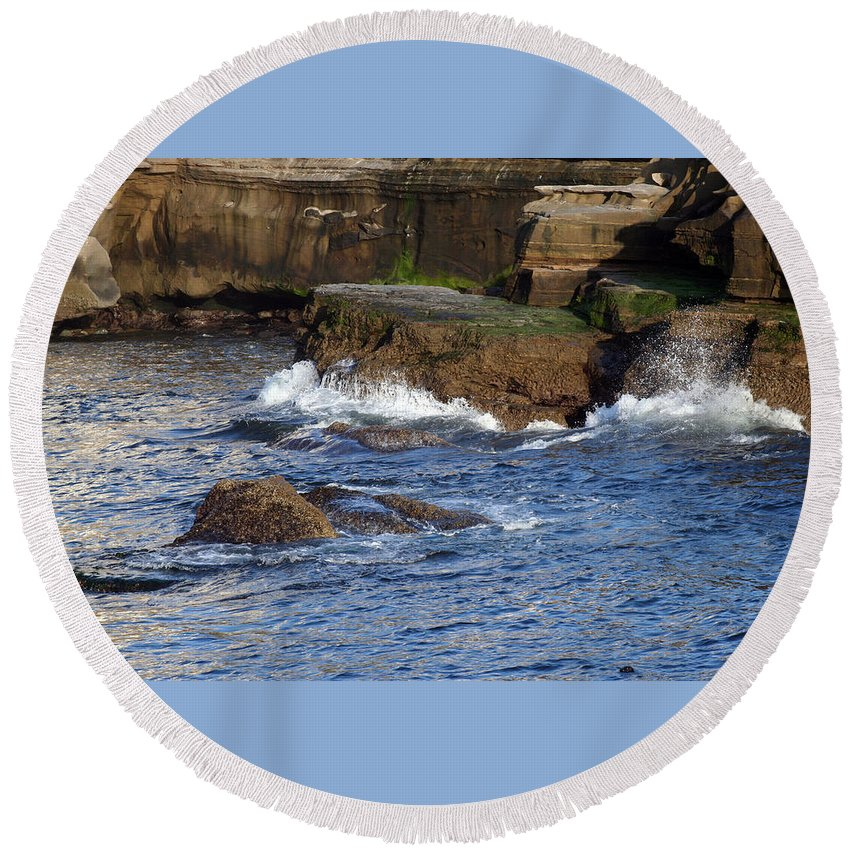 Ocean Round Beach Towel featuring the photograph Lajolla Rocks by Margie Wildblood