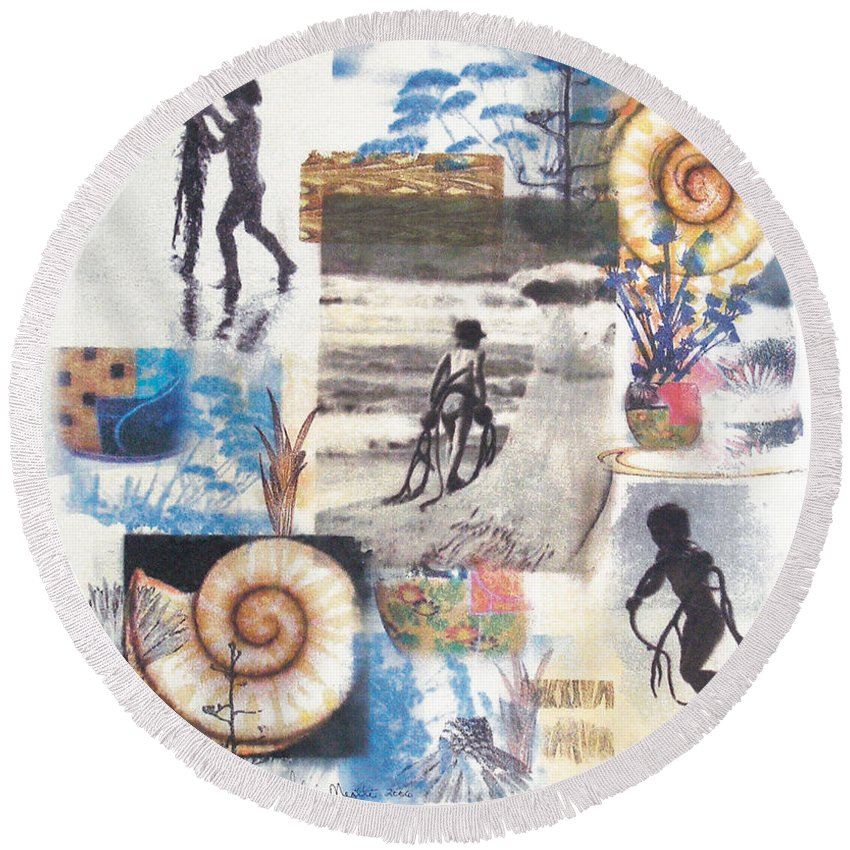 Abstract Round Beach Towel featuring the painting Lajolla by Valerie Meotti