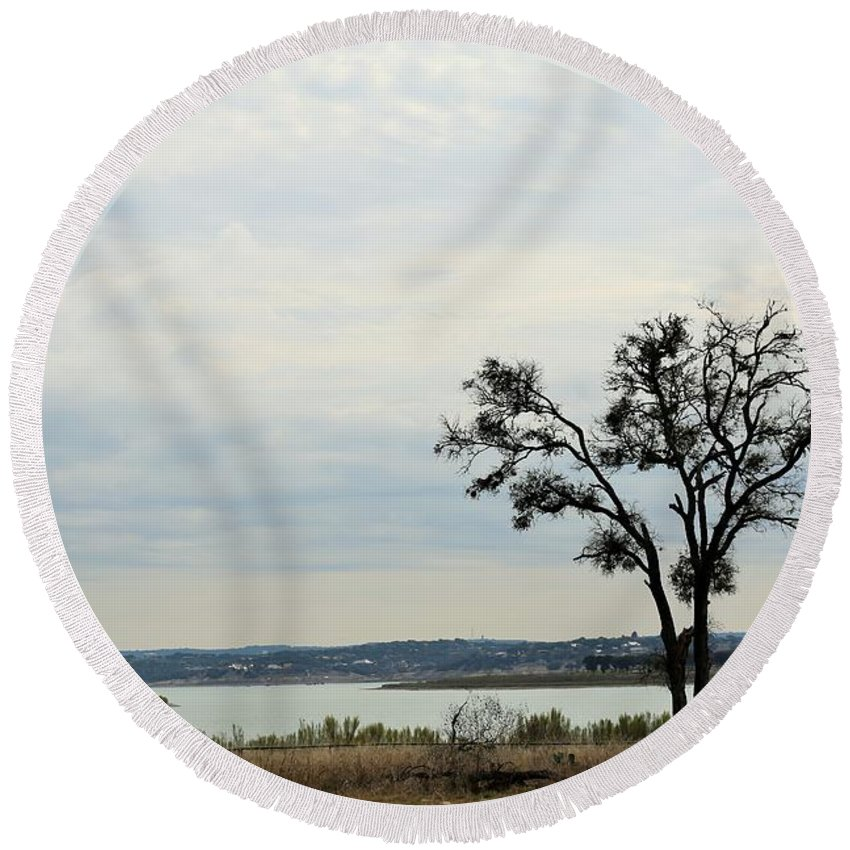 Round Beach Towel featuring the photograph Lake 007 by Jeff Downs