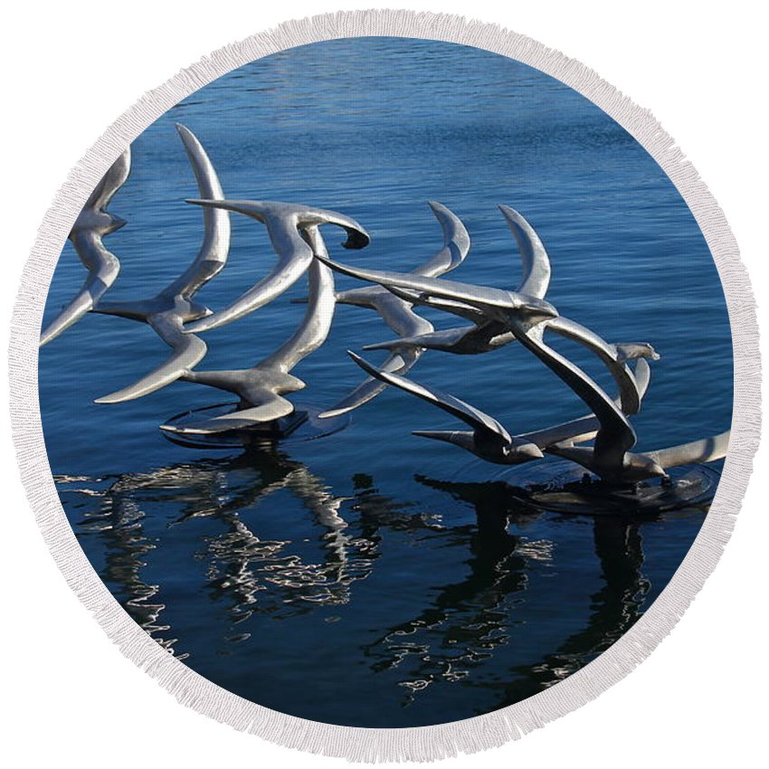 Lake Eola Round Beach Towel featuring the photograph Lake Birds by Denise Mazzocco