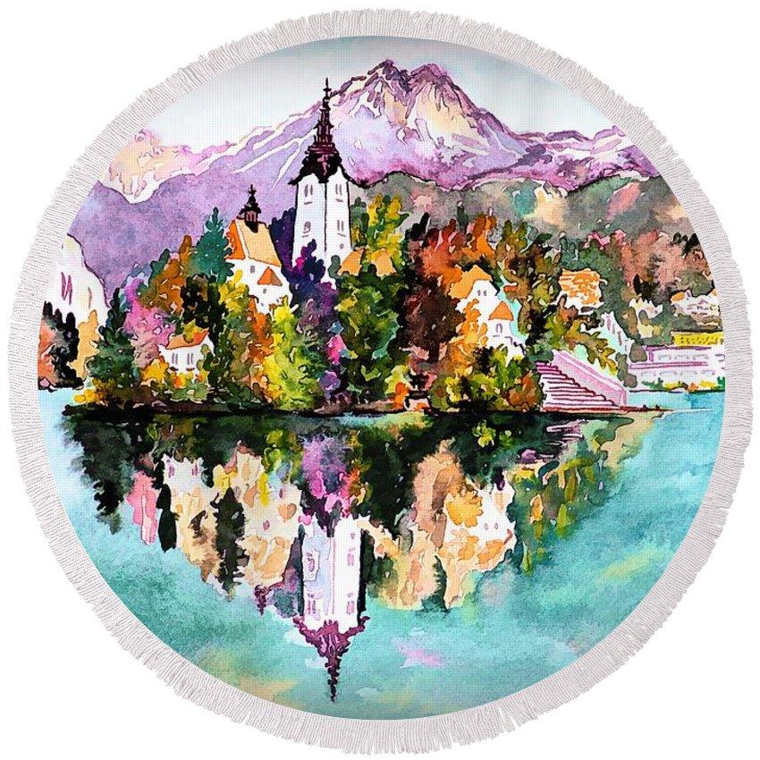 Europe Round Beach Towel featuring the digital art Lake Bled - Slovenia by Joseph Hendrix