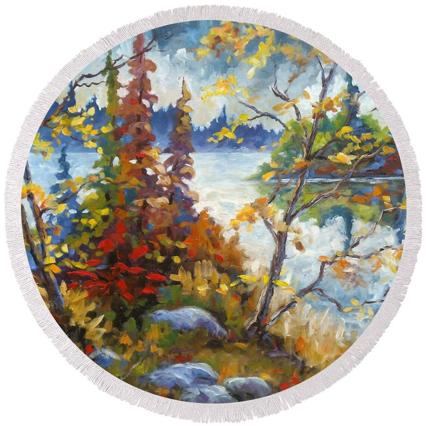 Trees Round Beach Towel featuring the painting Lake Cartier by Richard T Pranke