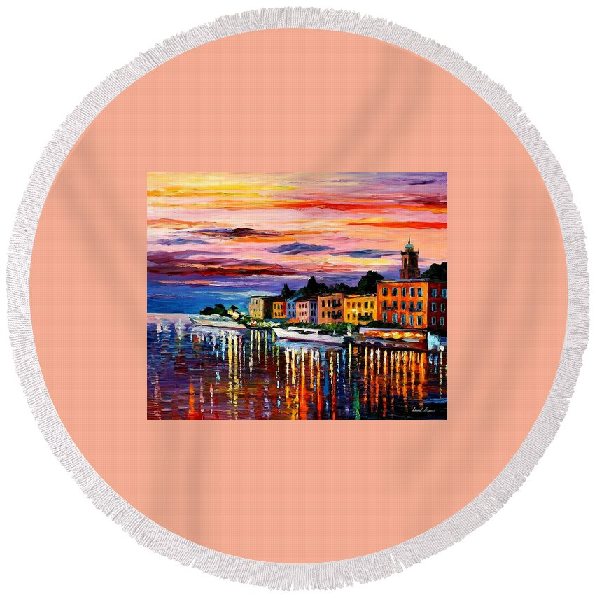 Cityscape Round Beach Towel featuring the painting Lake Como - Bellagio by Leonid Afremov