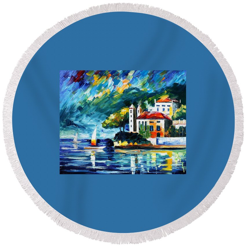 Afremov Round Beach Towel featuring the painting Lake Como Italy by Leonid Afremov