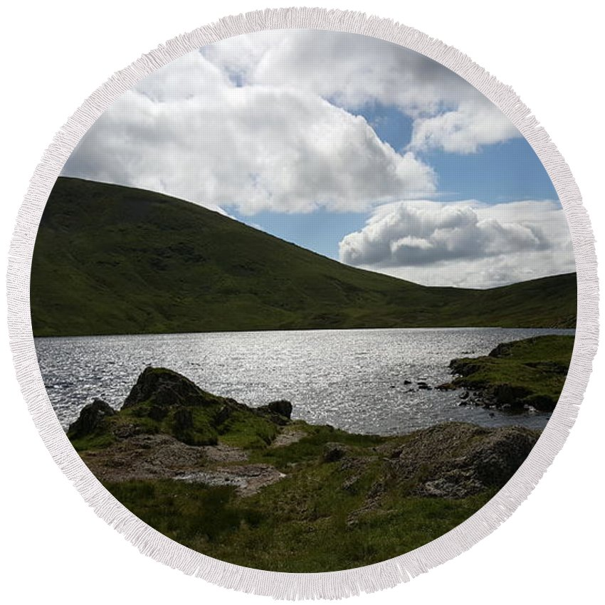 Outdoors Round Beach Towel featuring the photograph Lake District by Lone Summit