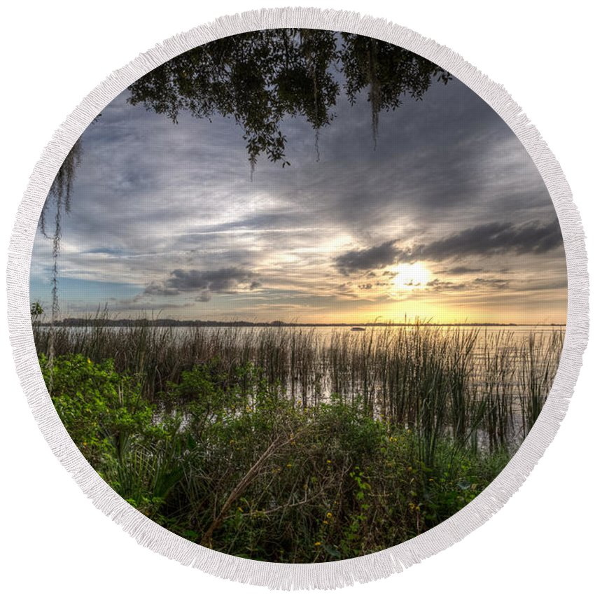 Lake Round Beach Towel featuring the photograph Lake Dora by Ronald Kotinsky