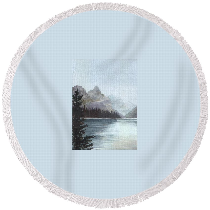 Watercolor Round Beach Towel featuring the painting Lake Helevorn by Brenda Owen