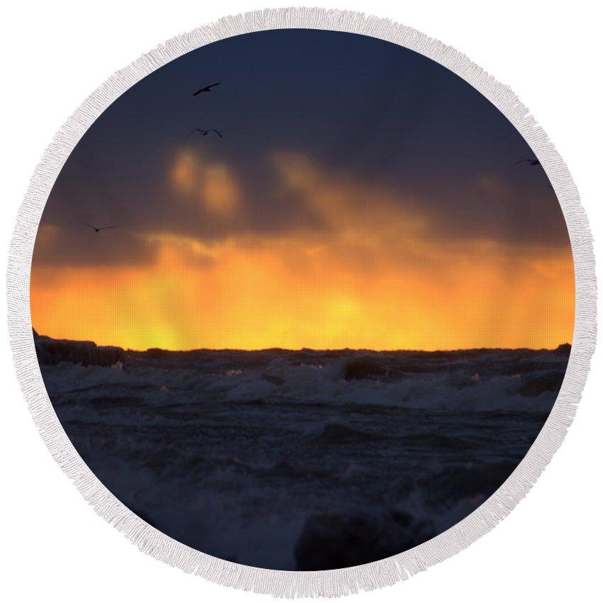 Grand Bend Round Beach Towel featuring the photograph Lake Huron Arctic Blast 2 by John Scatcherd