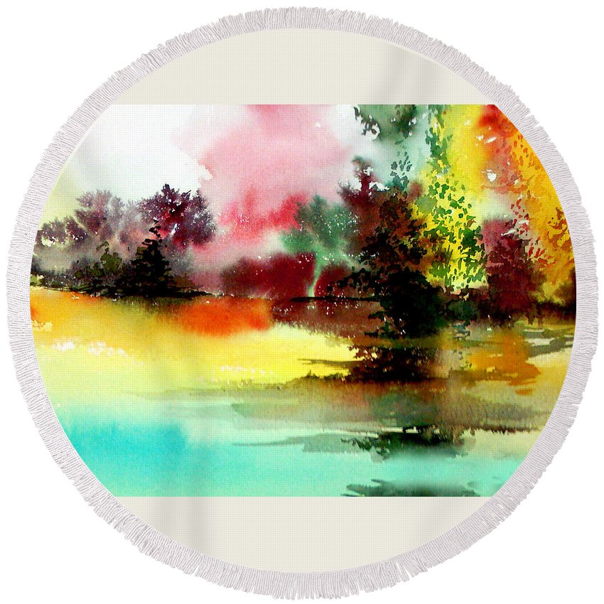 Nature Round Beach Towel featuring the painting Lake In Colours by Anil Nene