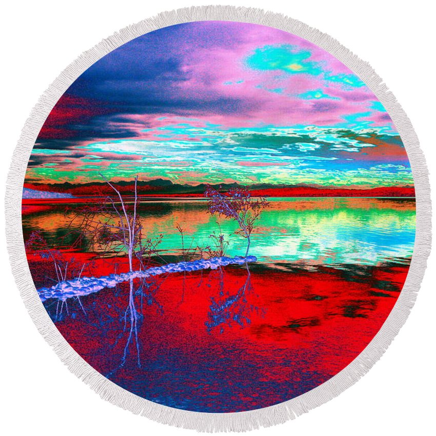 Sea Round Beach Towel featuring the digital art Lake In Red by Helmut Rottler
