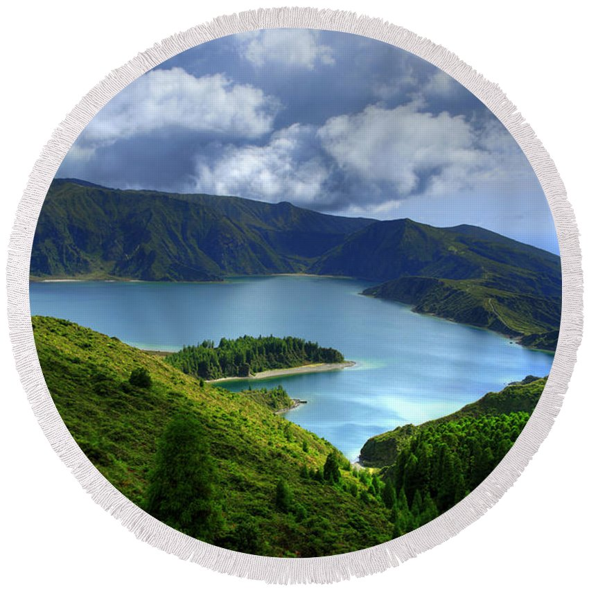 Azores Round Beach Towel featuring the photograph Lake In The Azores by Gaspar Avila