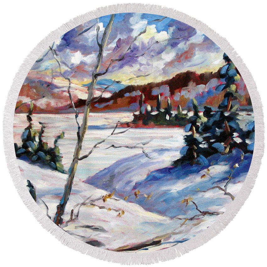 Lake Round Beach Towel featuring the painting Lake In Winter by Richard T Pranke