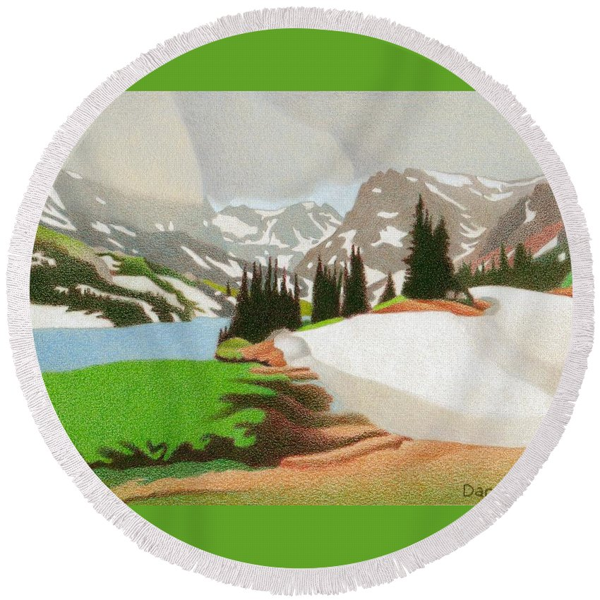 Lake Round Beach Towel featuring the drawing Lake Isabelle Storm by Dan Miller