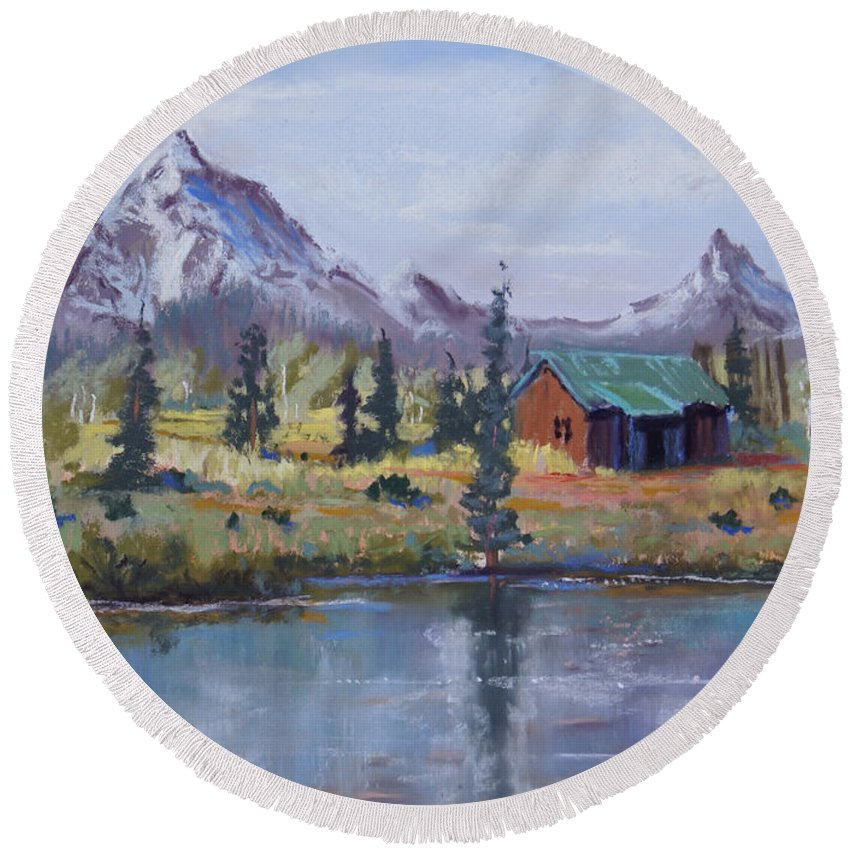 Pastel Landscape Round Beach Towel featuring the painting Lake Jenny Cabin Grand Tetons by Heather Coen