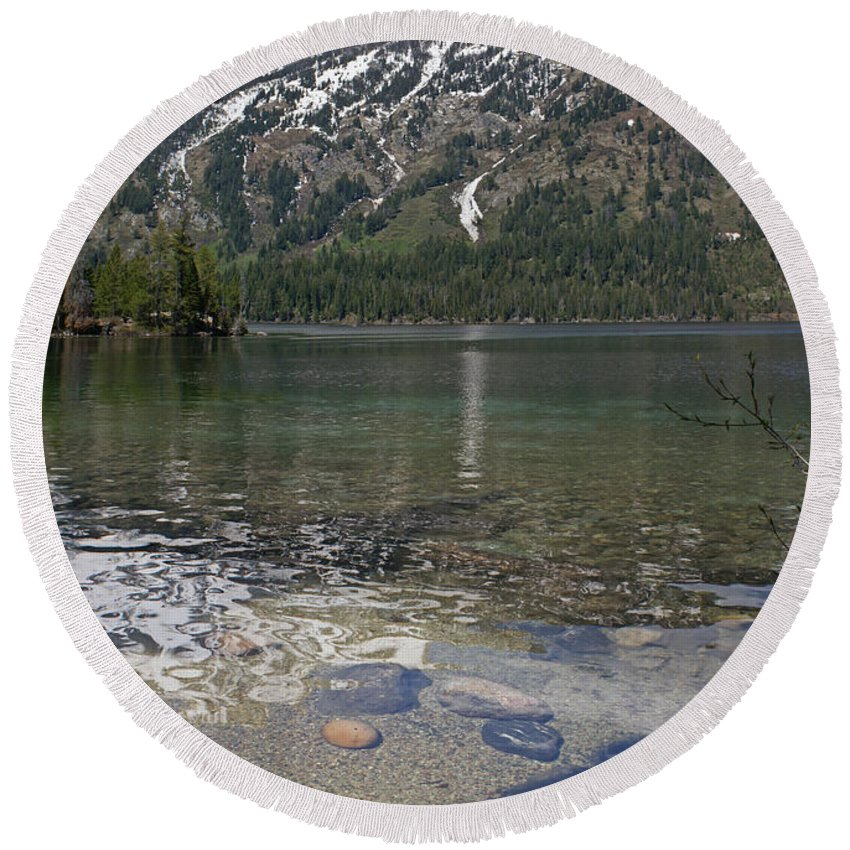 Grand Tetons Round Beach Towel featuring the photograph Lake Jenny Grand Tetons by Heather Coen
