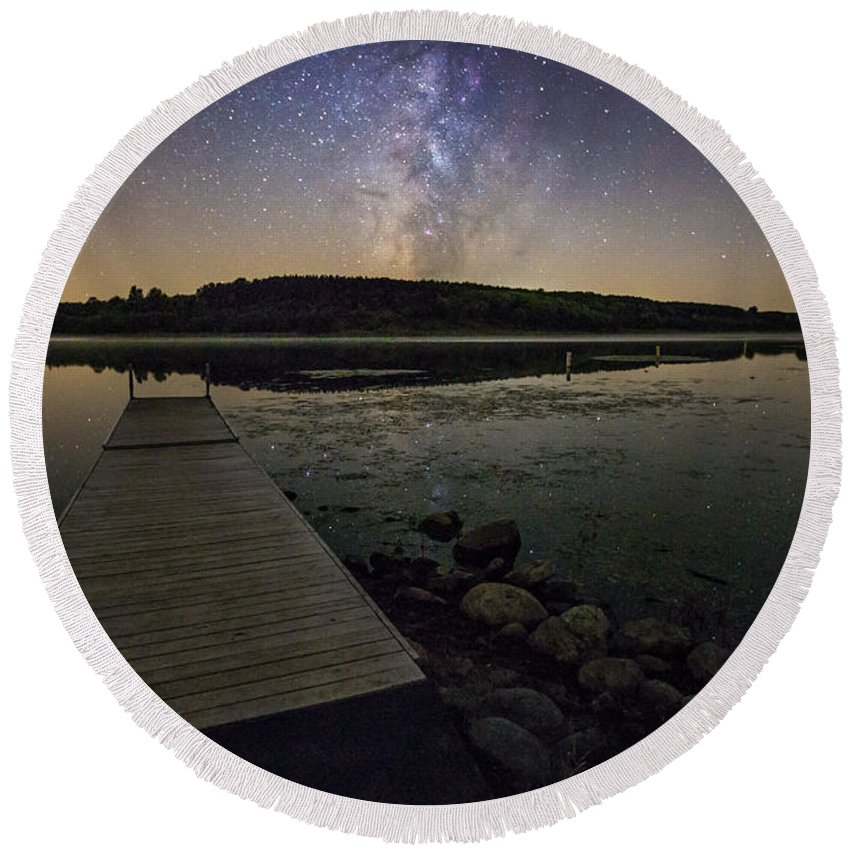 Milky Way Round Beach Towel featuring the photograph Lake Lakota Way by Aaron J Groen
