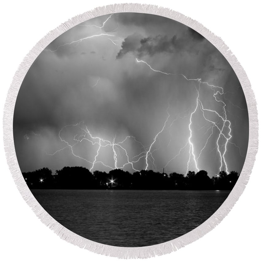 Lightning Round Beach Towel featuring the photograph Lake Lightning Two Bw by James BO Insogna