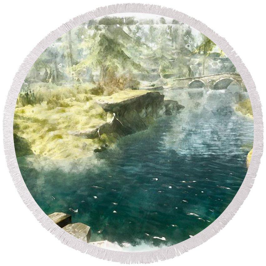 Lake Round Beach Towel featuring the digital art Lake by Marjan Mencin