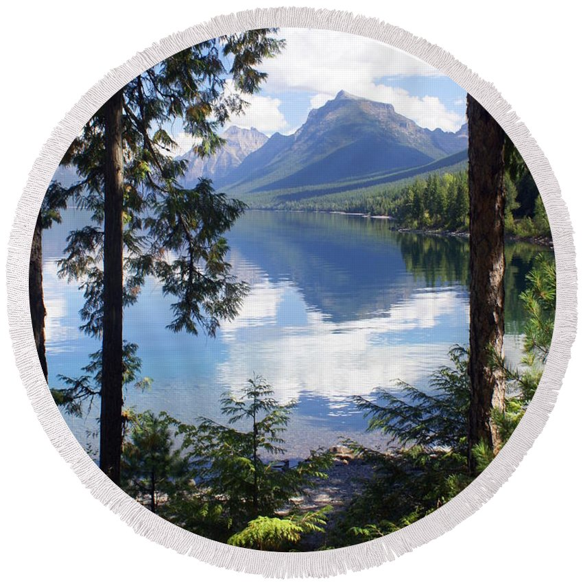 Glacier National Park Round Beach Towel featuring the photograph Lake Mcdlonald Through The Trees Glacier National Park by Marty Koch