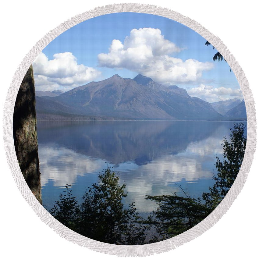 Lake Round Beach Towel featuring the photograph Lake Mcdonald Glacier National Park by Marty Koch