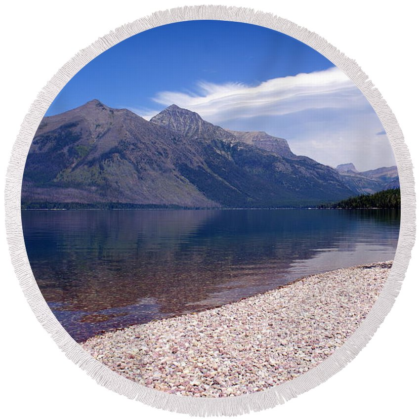 Glacier National Park Round Beach Towel featuring the photograph Lake Mcdonald Reflection Glacier National Park 4 by Marty Koch