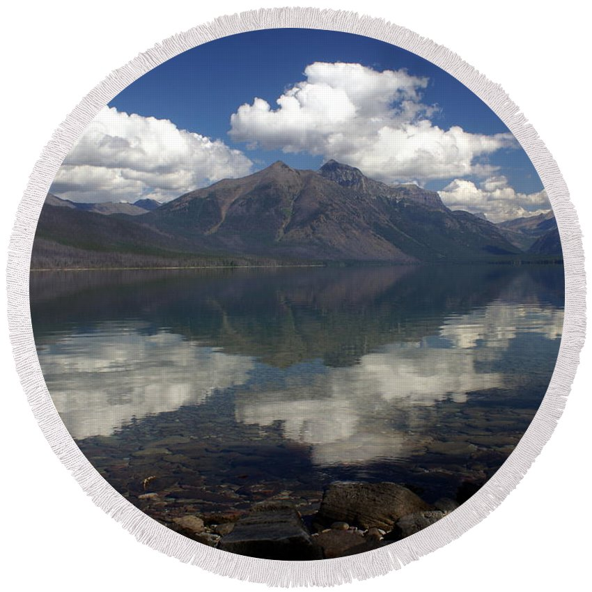Glacier National Park Round Beach Towel featuring the photograph Lake Mcdonald Reflection Glacier National Park by Marty Koch