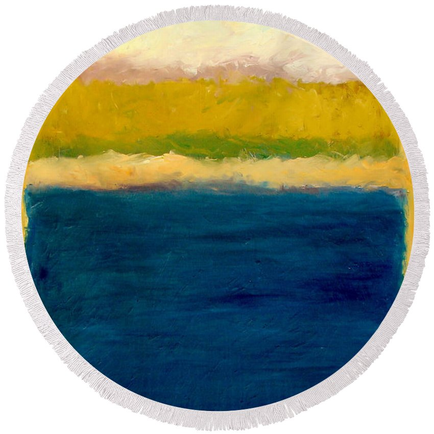 Dunes Round Beach Towel featuring the painting Lake Michigan Beach Abstracted by Michelle Calkins