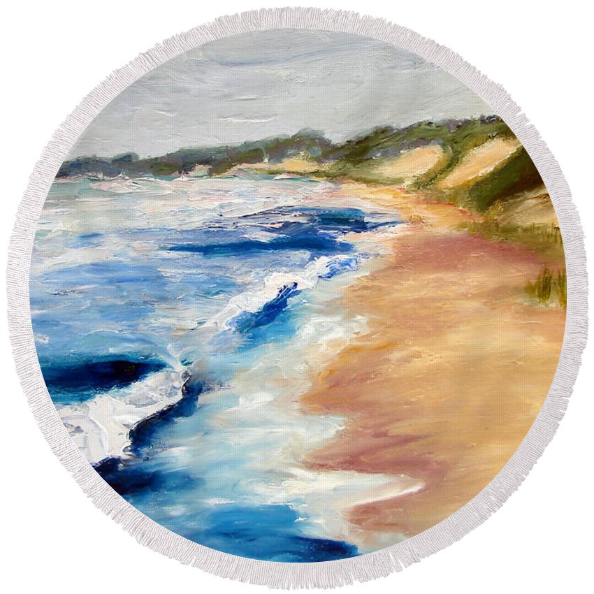 Whitecaps Round Beach Towel featuring the painting Lake Michigan Beach With Whitecaps Detail by Michelle Calkins