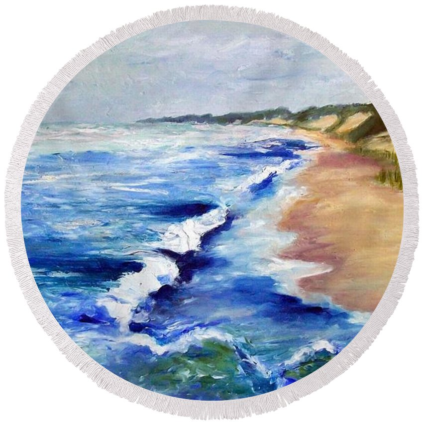 Whitecaps Round Beach Towel featuring the painting Lake Michigan Beach With Whitecaps by Michelle Calkins