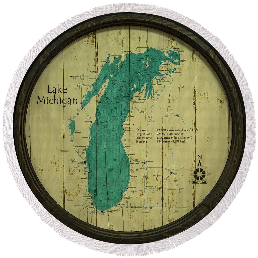 Lake Michigan Round Beach Towel featuring the photograph Lake Michigan Map by Greg Thiemeyer