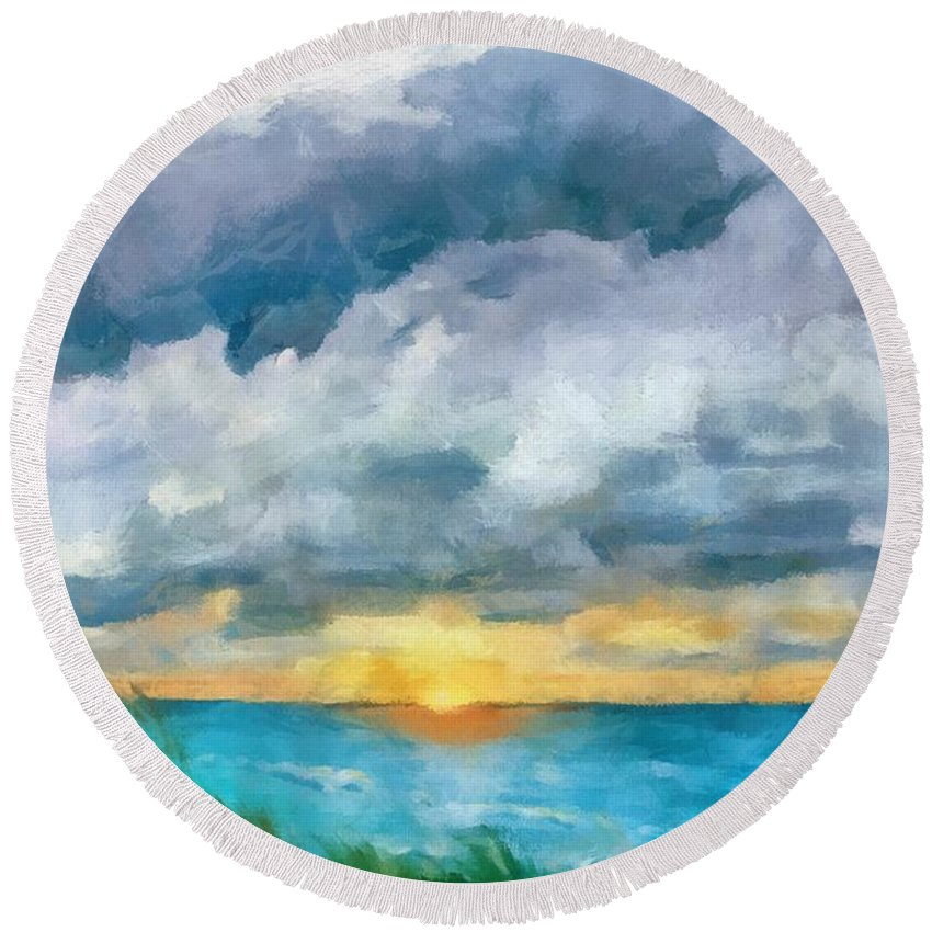 Golden Round Beach Towel featuring the painting Lake Michigan Sunset by Michelle Calkins