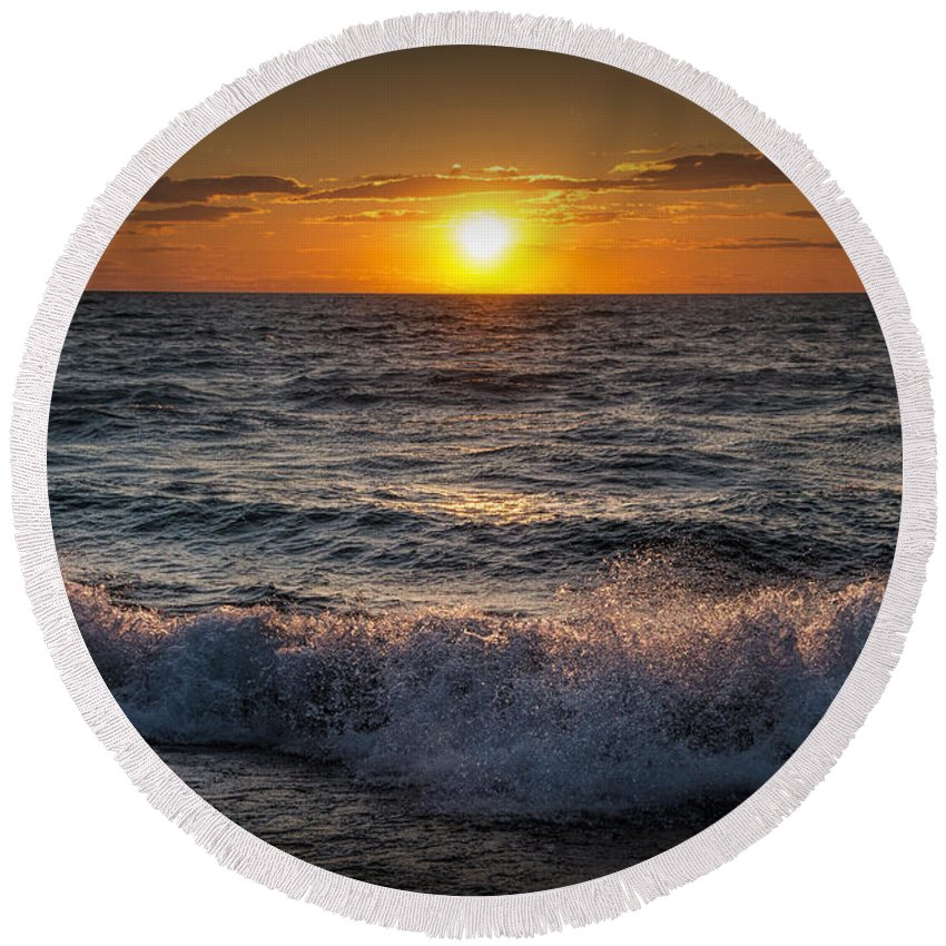 Sea Round Beach Towel featuring the photograph Lake Michigan Sunset With Crashing Shore Waves by Randall Nyhof