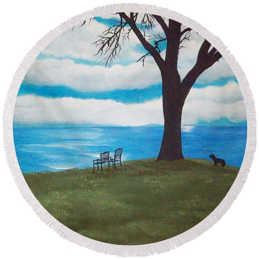 Primitive Round Beach Towel featuring the painting Lake Ontario Canada by Susan Michutka