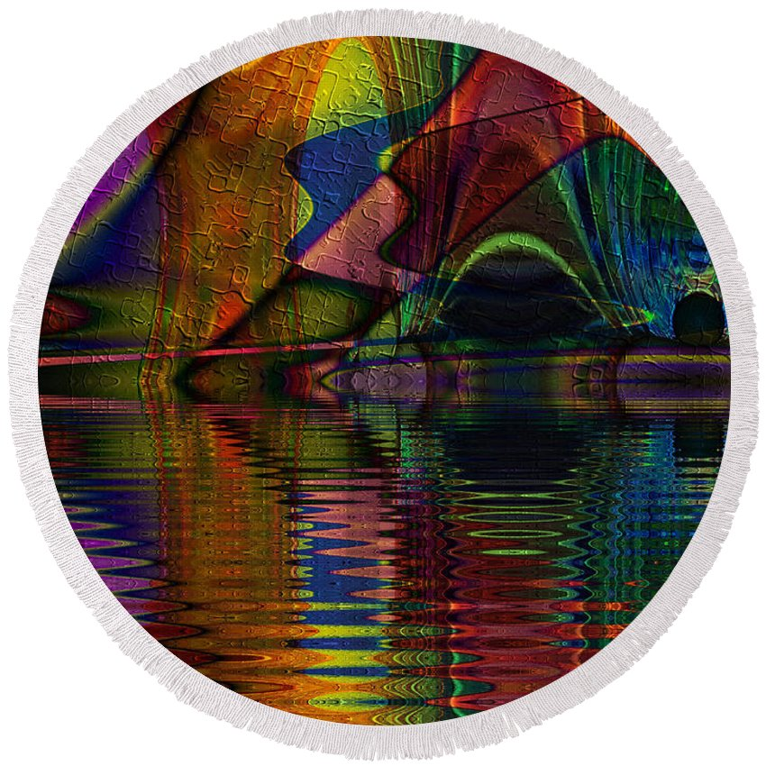 Lake Opalescence Round Beach Towel featuring the digital art Lake Opalescence by Kiki Art