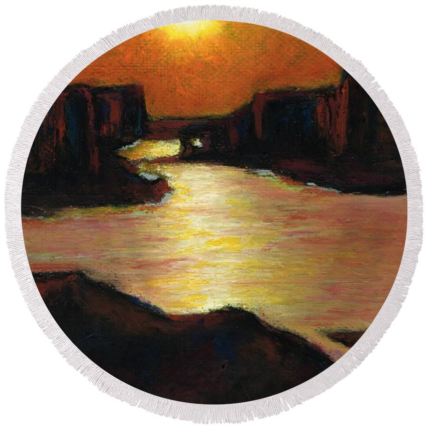 Lake Powell Round Beach Towel featuring the painting Lake Powell At Sunset by Frances Marino