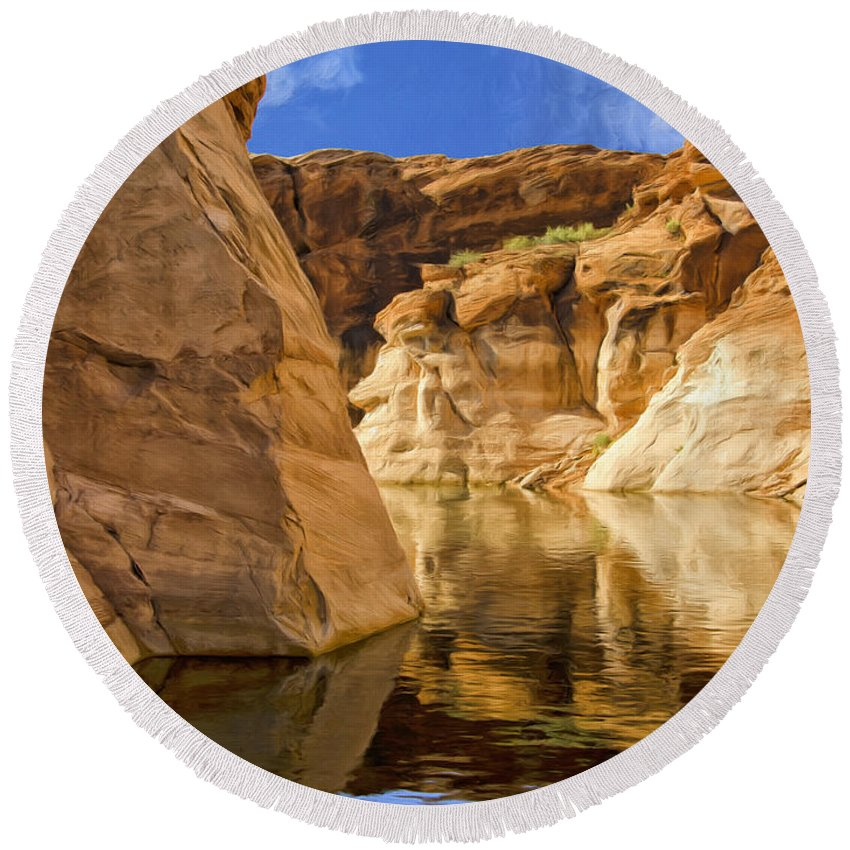Morning Round Beach Towel featuring the painting Lake Powell Stillness by Dominic Piperata