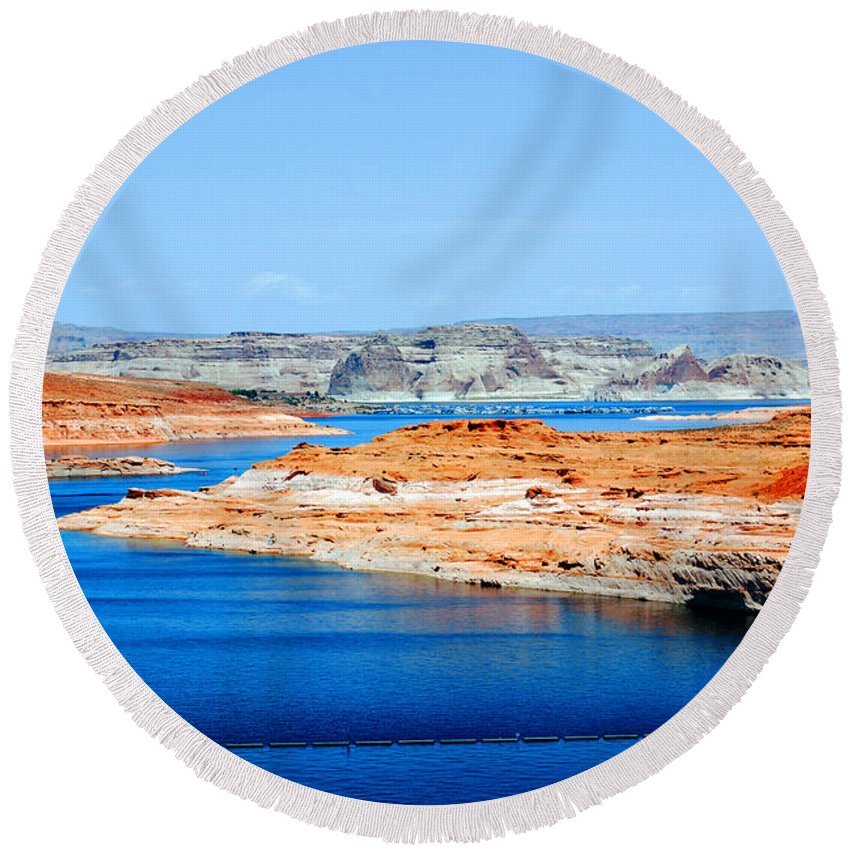 Photography Round Beach Towel featuring the photograph Lake Powell by Susanne Van Hulst