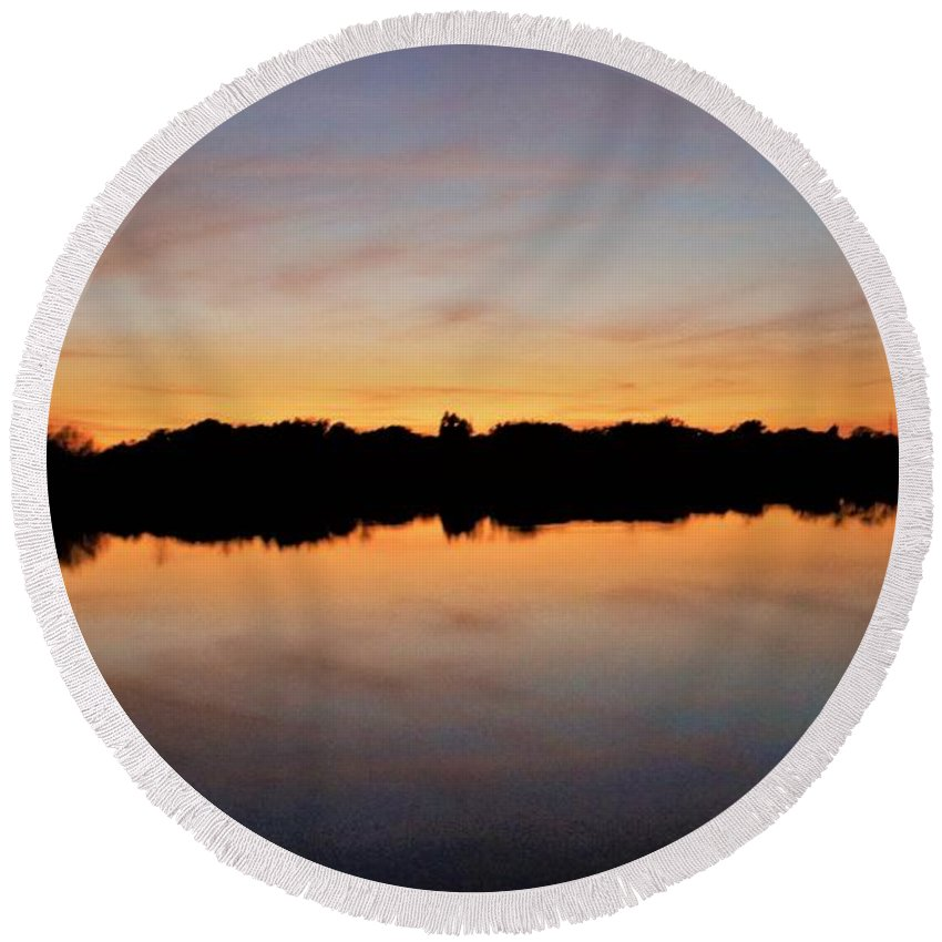 Sunset Round Beach Towel featuring the photograph Lake Reflections by Jacqueline Whitcomb