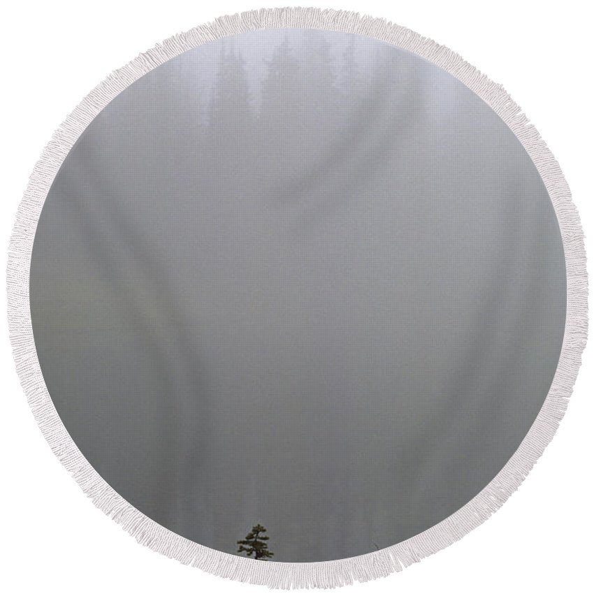 Atmosphere Round Beach Towel featuring the photograph Lake Reflections by Jim Corwin
