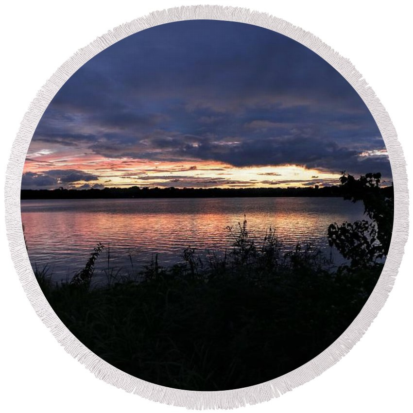 Lake Round Beach Towel featuring the photograph Lake Sky by Daniel Casey