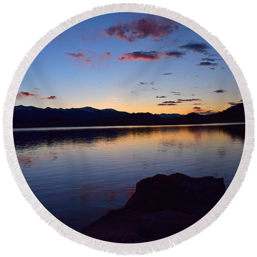 Lake Sunset Mountains Fish Colorado Landscape Round Beach Towel featuring the photograph Lake Sunset by Branden Kruis