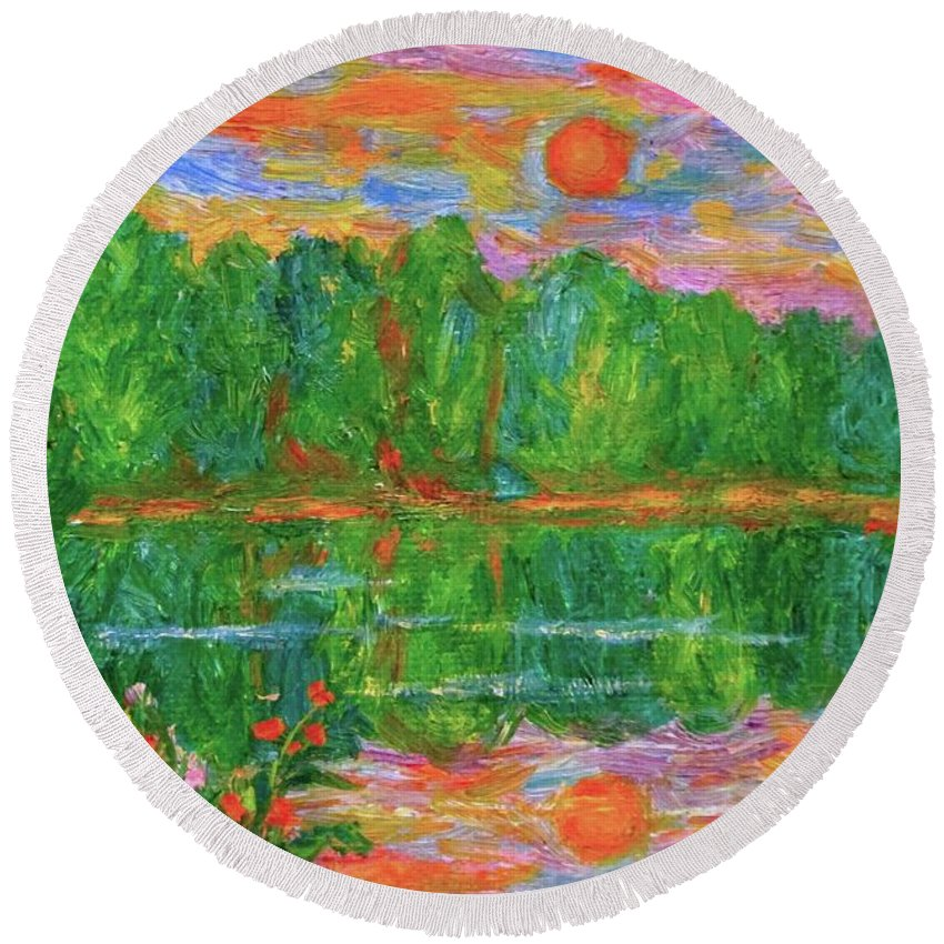 Lake Paintings Round Beach Towel featuring the painting Lake Sunset by Kendall Kessler