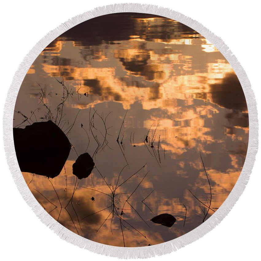 Sunrise Round Beach Towel featuring the photograph Lake Sunset Reflections by James BO Insogna