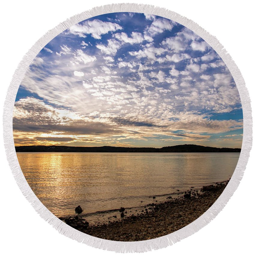 Sunset Round Beach Towel featuring the photograph Lake Sunset by Steven Jones