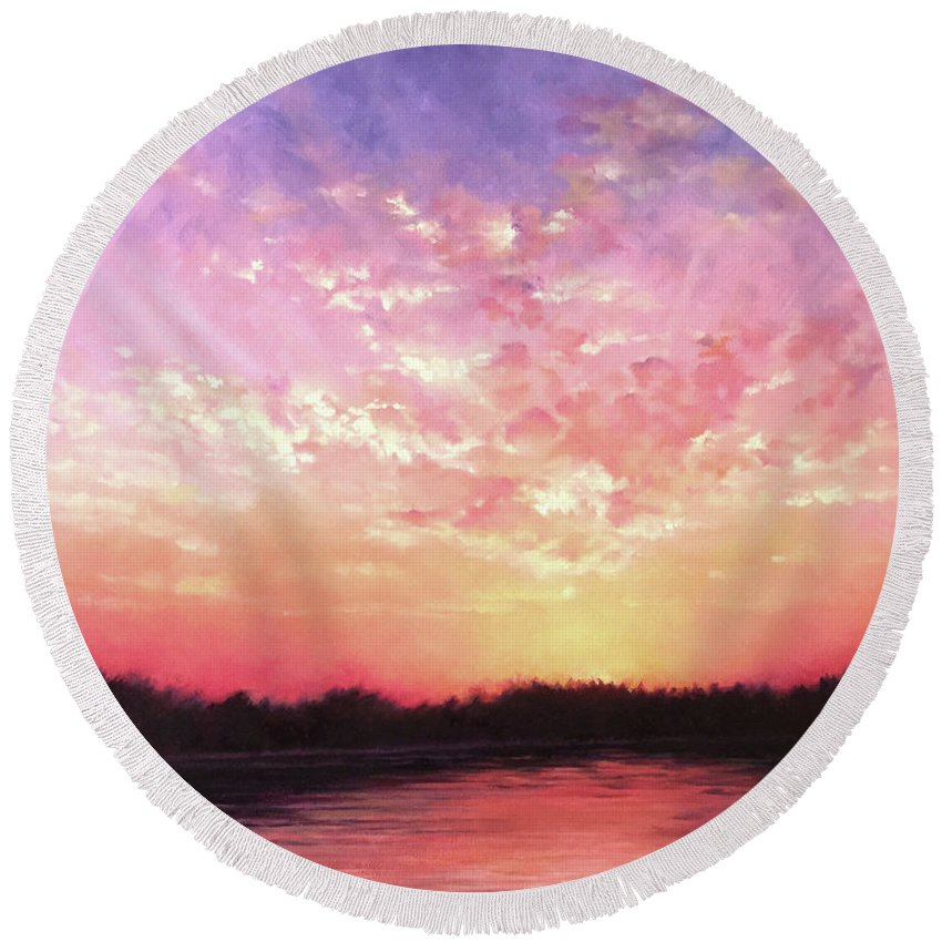 Landscape Round Beach Towel featuring the painting Lake Sunset by Teri Rosario