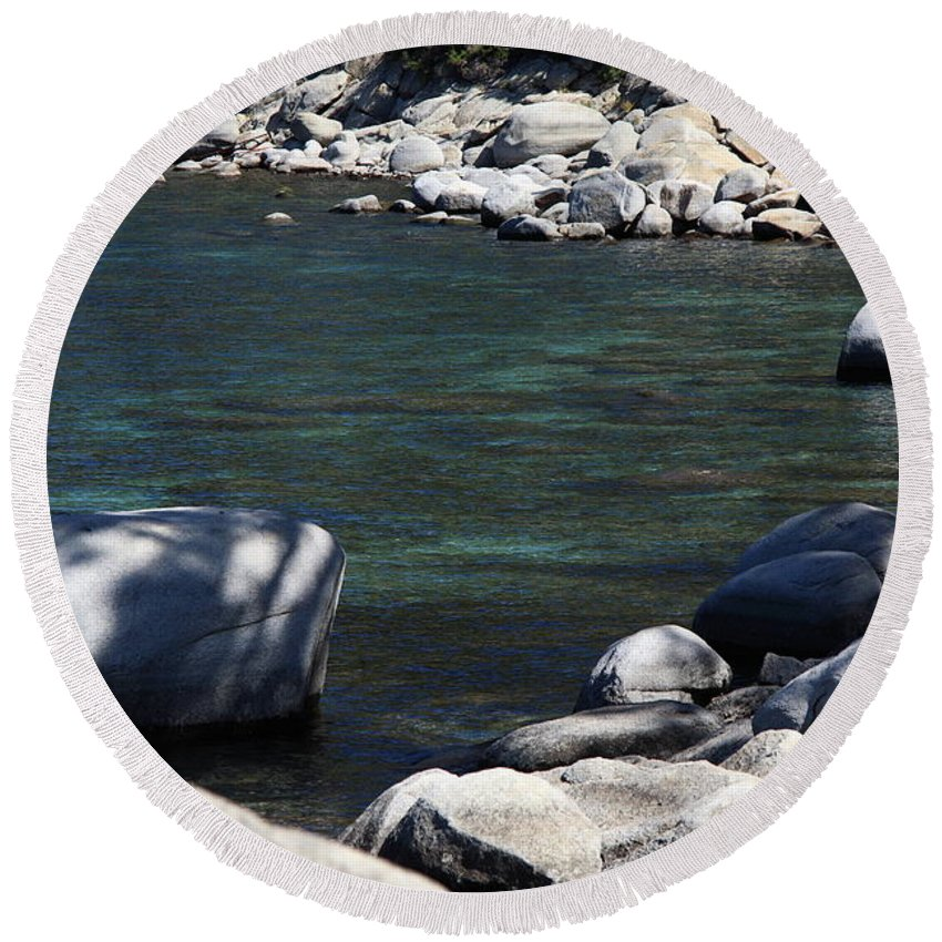 Alpine Round Beach Towel featuring the photograph Lake Tahoe 22 by Frank Romeo