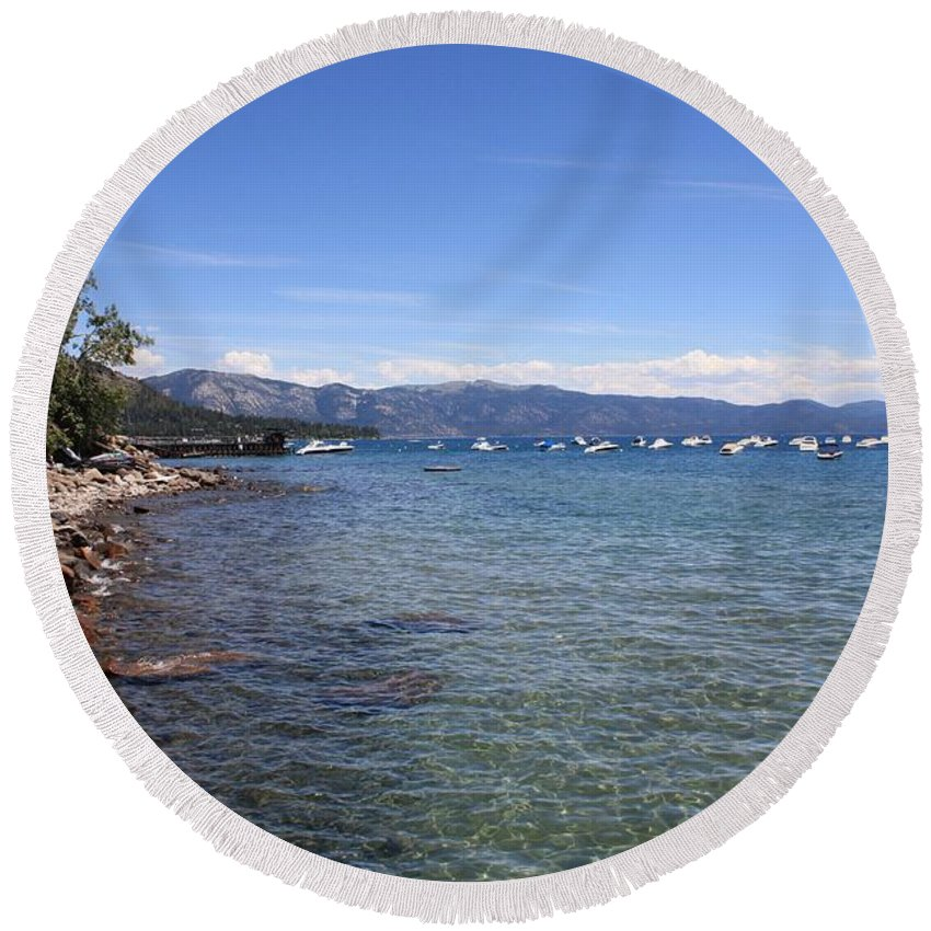 Lake Tahoe Round Beach Towel featuring the photograph Lake Tahoe by Carol Groenen